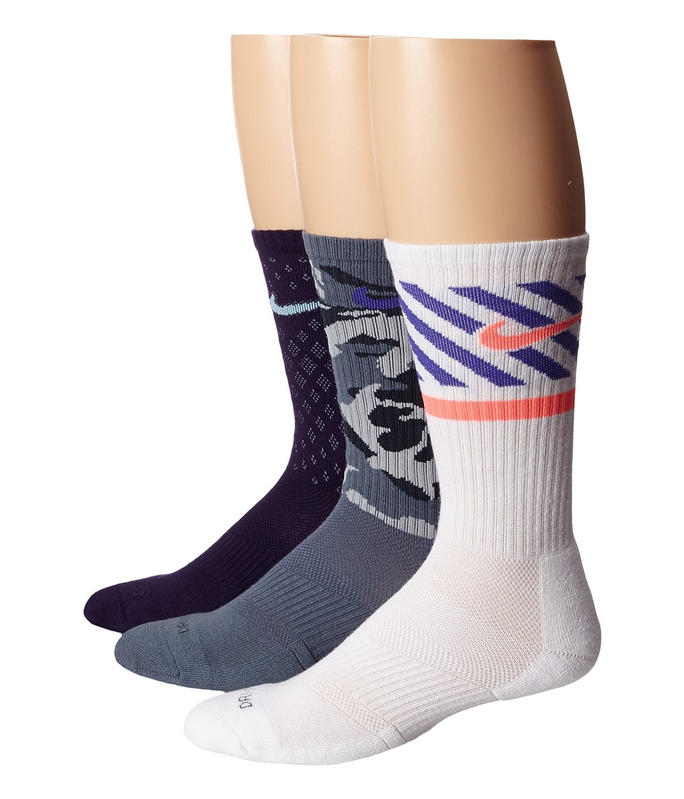 Nike - Dri-FIT Triple Fly Crew 3-Pack (Ink/Ice/Base Grey/White/Hot Lava) Crew Cut Socks Shoes
