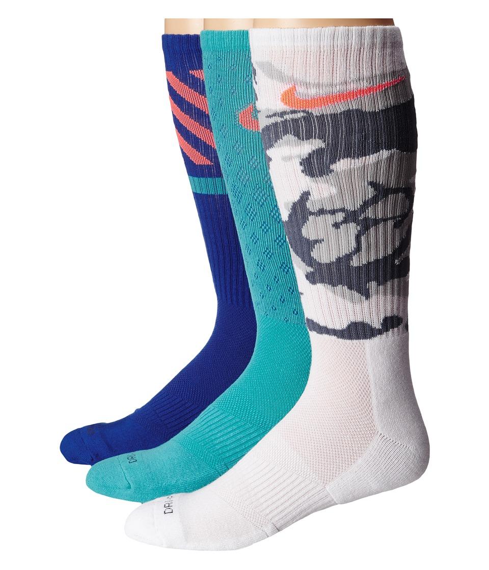 Nike - Dri-FIT Triple Fly Crew 3-Pack (Light Retro/Total Orange/White/Total Orange/Game Royal/Light Ret) Crew Cut Socks Shoes
