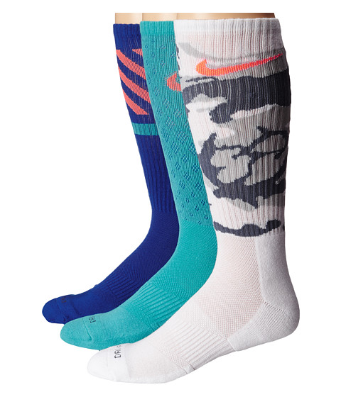 Nike - Dri-FIT Triple Fly Crew 3-Pack (Light Retro/Total Orange/White/Total Orange/Game Royal/Light Ret) Crew Cut Socks Shoes