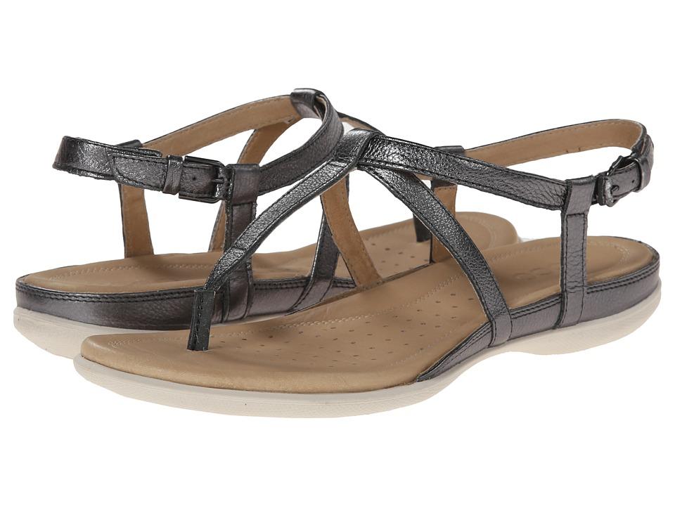 ECCO Flash T-Strap Sandal (Dark Shadow Metallic) Women