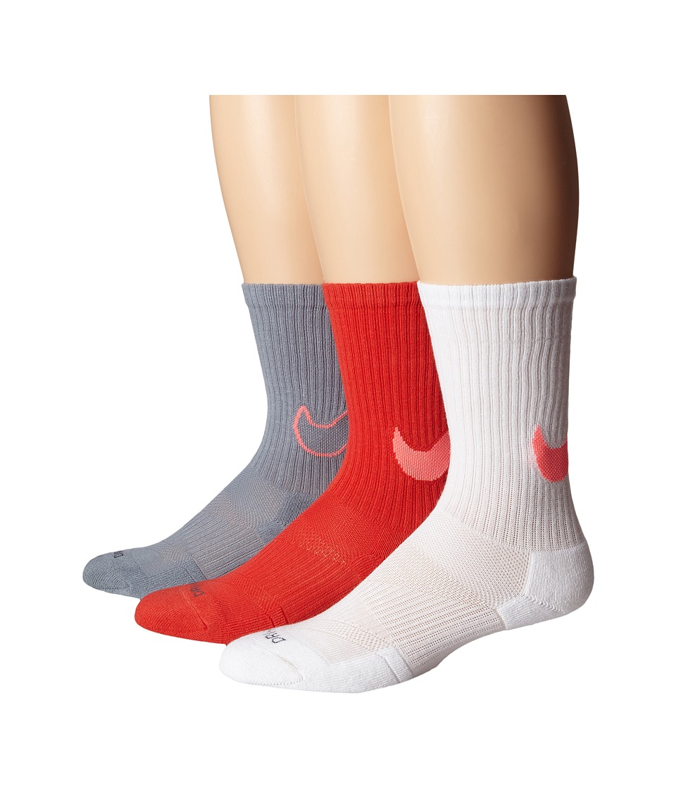 Nike - Dri-FIT Cotton Swoosh Crew 3-Pair Pack (Daring Red/Hot Lava/White/Hot Lava/Dark Grey/Hot Lava) Crew Cut Socks Shoes
