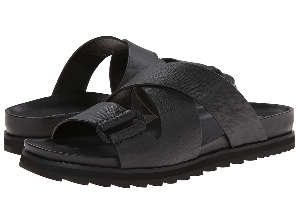 Calvin Klein Jeans - Valeri (Black Safiano Leather) Women's Slide Shoes
