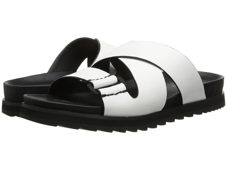 Calvin Klein Jeans Valeri White Safiano Leather Womens Slide Shoes