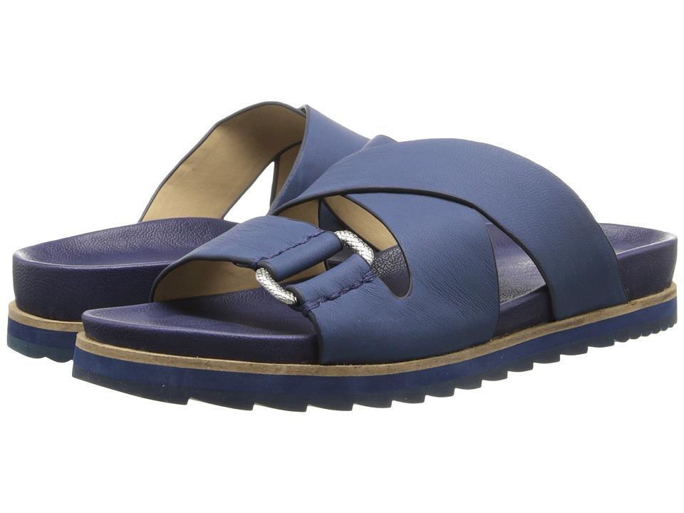 Calvin Klein Jeans Valeri Indigo Leather Womens Slide Shoes