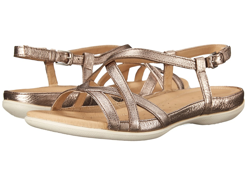 ECCO - Flash Cross Strap Sandal (Warm Grey Metallic) Women's Sandals