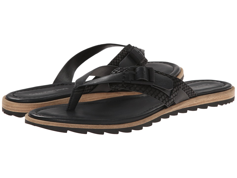 Calvin Klein Jeans - Opel (Black Vachetta Leather) Women's Sandals