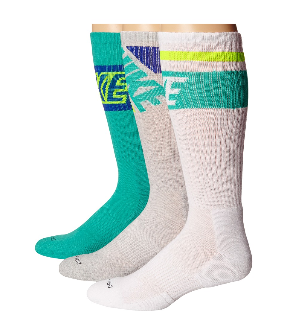 Nike - Dri-FIT Crew Sock 3-Pair Pack (White/Light Retro/White/Light/Retro/Grey/Grey Heather) Crew Cut Socks Shoes