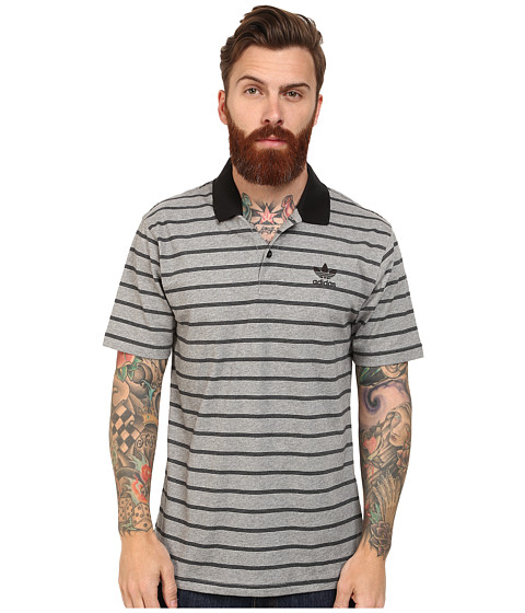 adidas Skateboarding - Striped Polo (Core Heather/Black) Men's Short Sleeve Pullover