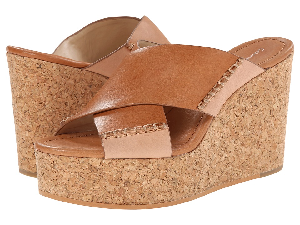 Calvin Klein Jeans Adeli Tan Leather Womens Wedge Shoes