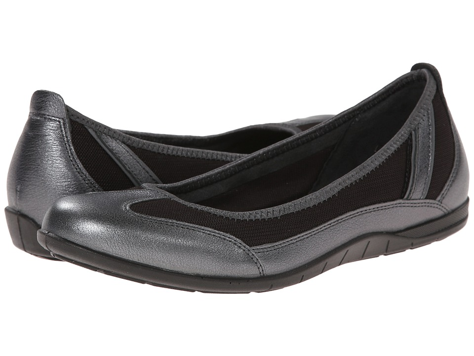ECCO - Bluma Summer Ballerina (Dark Shadow Metallic/Licorice/Dark Shadow) Women's Shoes