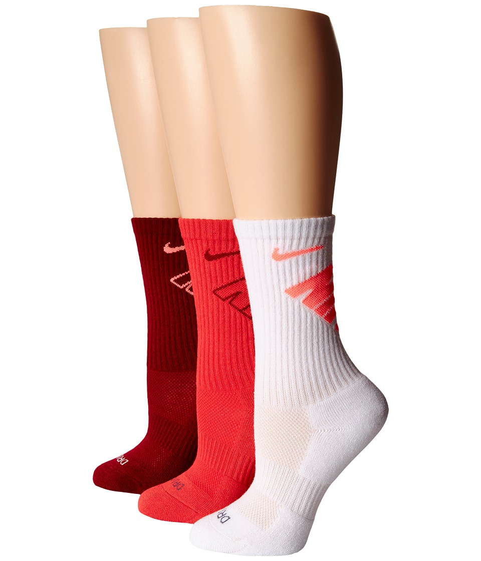 Nike - Dri-Fit Fly Crew 3-Pair Pack (white/Hot Lava/Daring Red/Team Red/Team Red/Hot Lava) Crew Cut Socks Shoes
