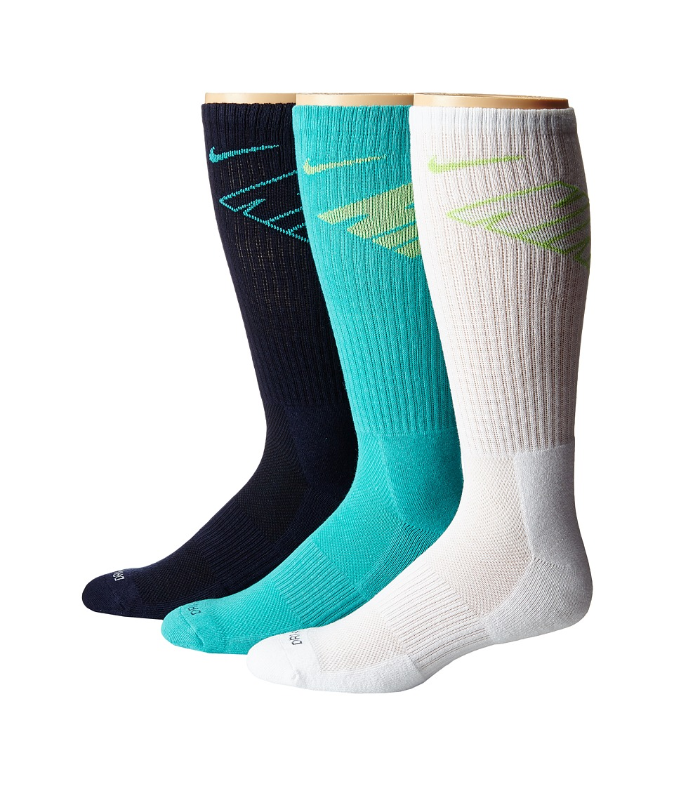 Nike - Dri-Fit Fly Crew 3-Pair Pack (Obsidian/Light Retro/Light Retro/Key Lime/White/Key Lime) Crew Cut Socks Shoes