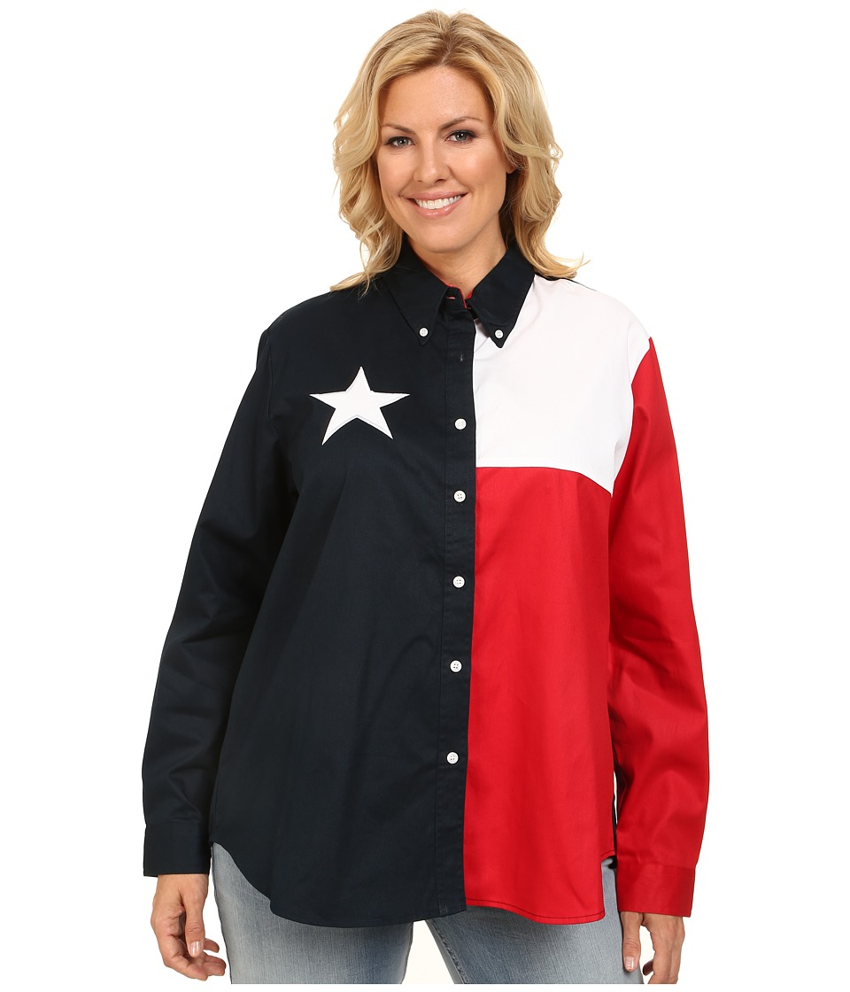 Roper - Plus Size Texas Pieced Flag Shirt (Natural) Women's Long Sleeve Button Up