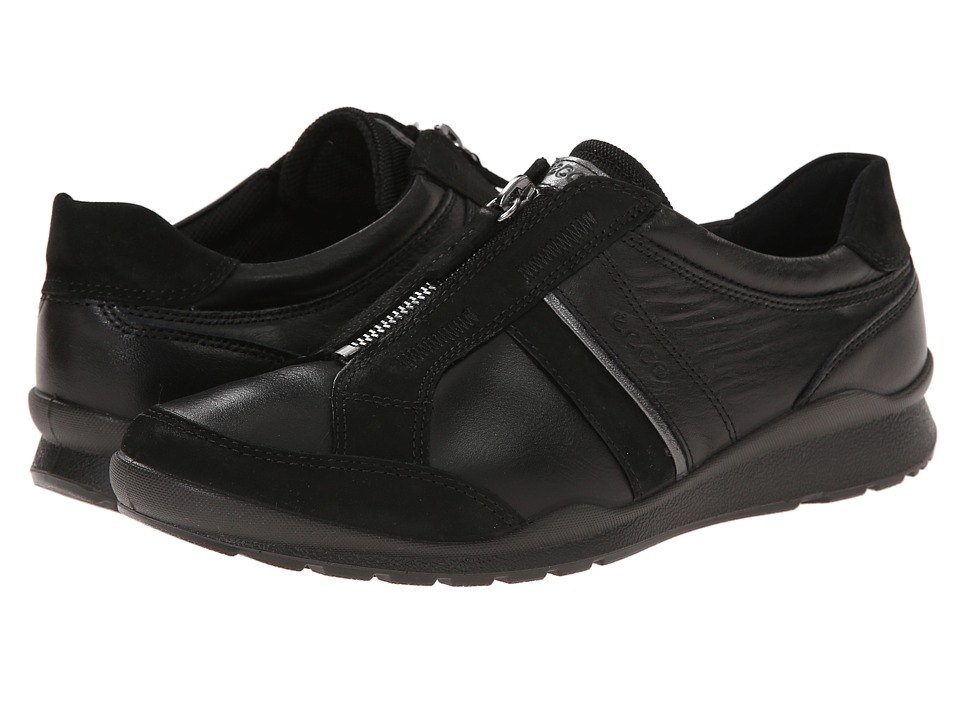 ECCO - Mobile III Zip (Black/Black/Dark Shadow Metallic) Women's Lace up casual Shoes