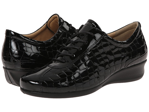 ECCO - Abelone Tie (Black/Black) Women's Wedge Shoes