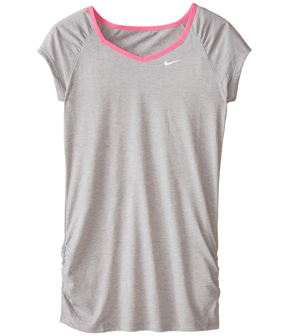 Nike Kids - YA Dri-FIT Cool S/S Top (Little Kids/Big Kids) (Dark Grey Heather/Pink Pow/White) Girl's Short Sleeve Pullover