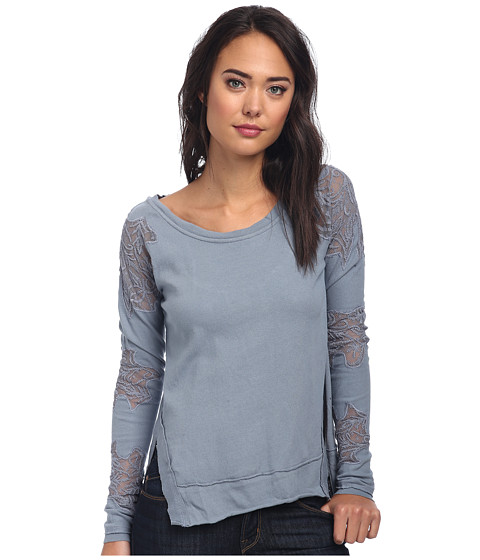 Free People - Grandpa Jersey Outer Sunset Top (Rain Blue) Women's Long Sleeve Pullover