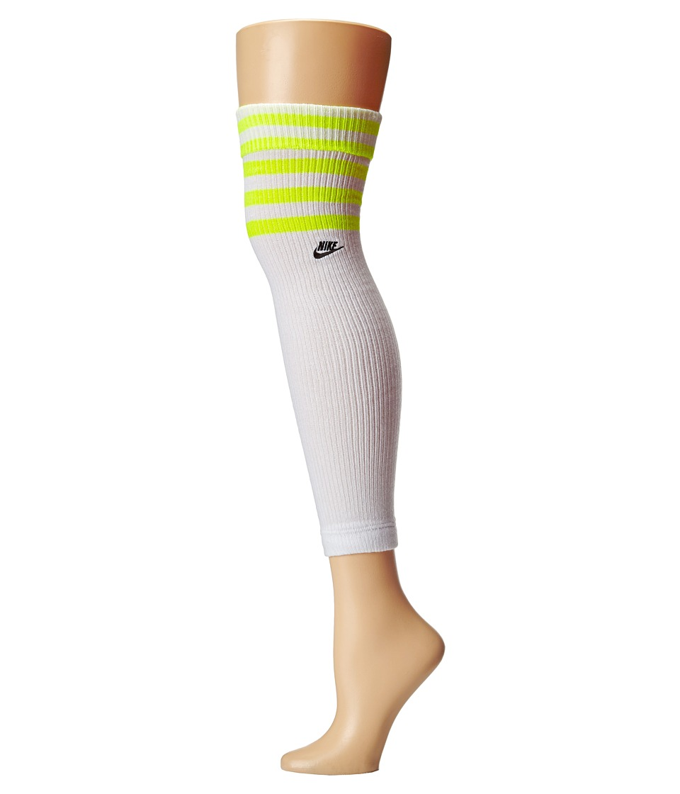 Nike - Classic Leg Warmer (White/Volt/Black) Knee High Socks Shoes