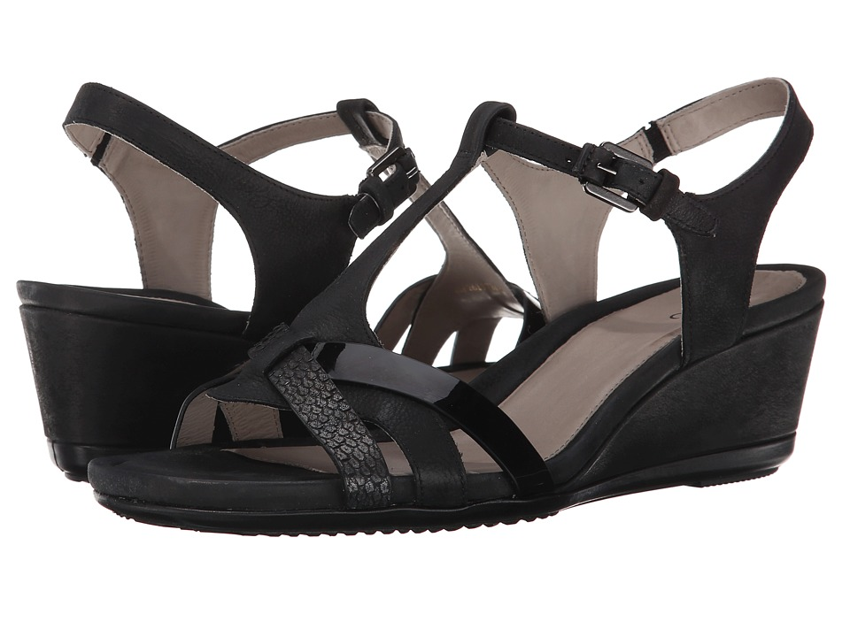 ECCO - Touch 45 T-Strap Sandal (Black/Black) Women's Wedge Shoes