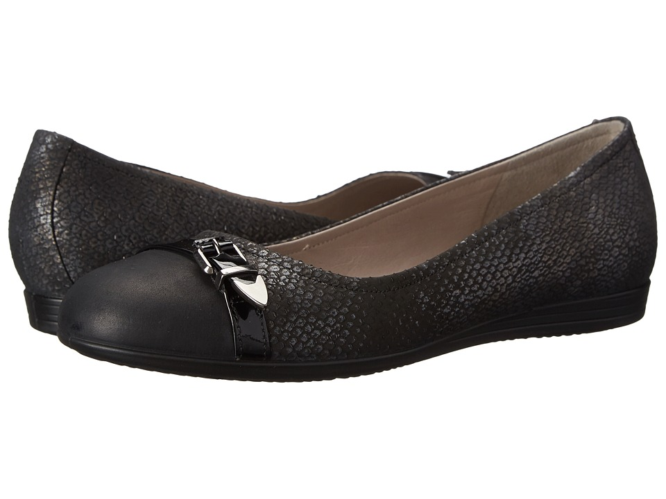 ECCO - Touch 15 Scale Ballerina (Black/Black) Women's Slip on Shoes