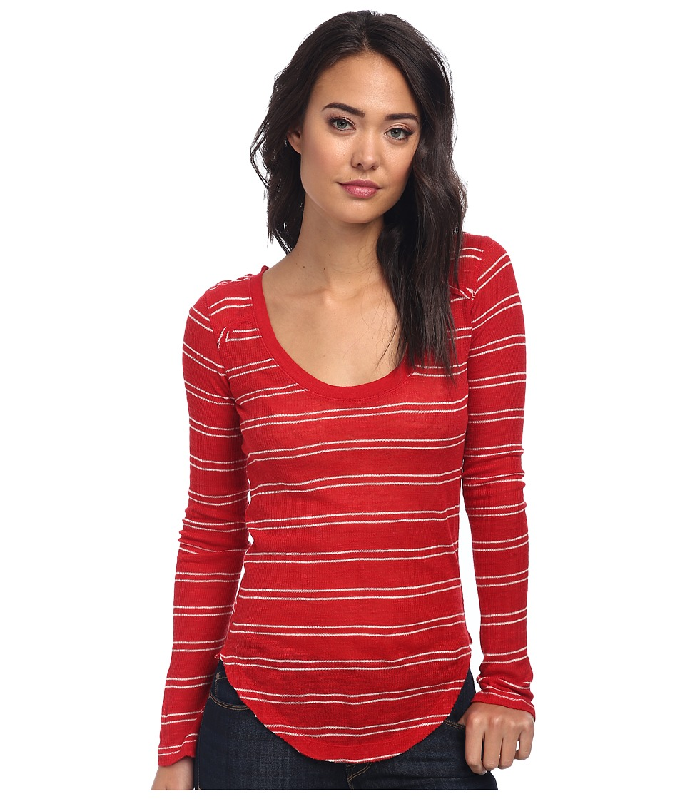 Free People - Yarn Dye Stripe Nicest Slub L/S Layering Me Top (Cherry Combo) Women's Long Sleeve Pullover