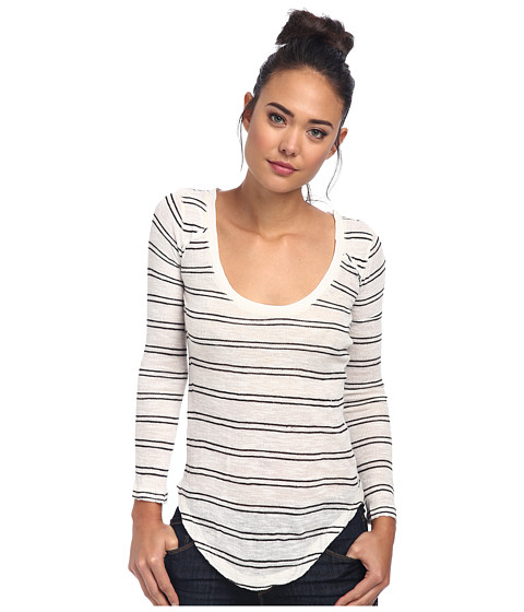 Free People - Yarn Dye Stripe Nicest Slub L/S Layering Me Top (Ivory Combo) Women