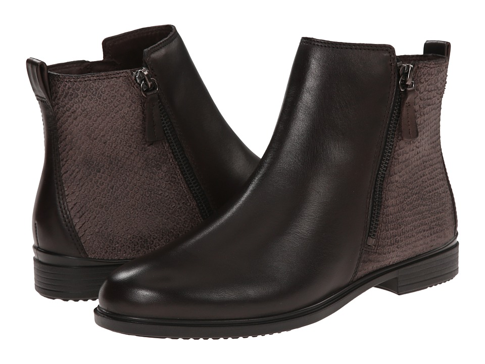 ECCO - Touch 15 Scale Bootie (Coffee/Espresso) Women's Zip Boots