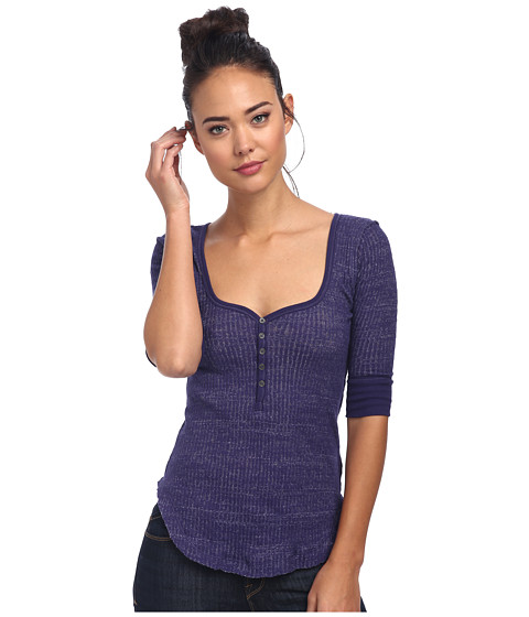 Free People - Slub Rib Sweetheart Henley (Plum) Women's Clothing