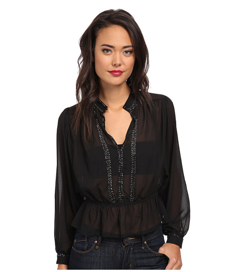 Free People - Check Chiffon If I Had You Solid Top (Black) Women's Blouse