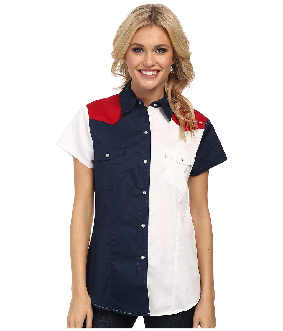 Roper - Americana Pieced Color Block Top (Blue) Women's Short Sleeve Button Up