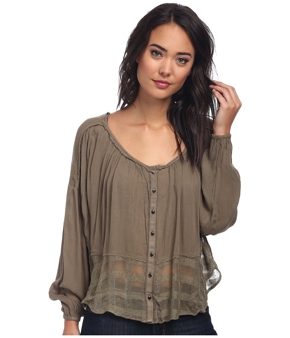 Free People - Rayon Gauze Rainy Days Swing Top (Olive) Women
