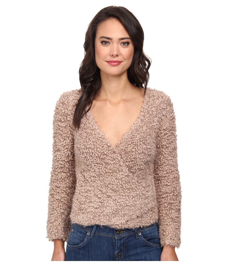 Free People - Marshmallow Surplice Pullover Sweater (Taupe) Women's Sweater