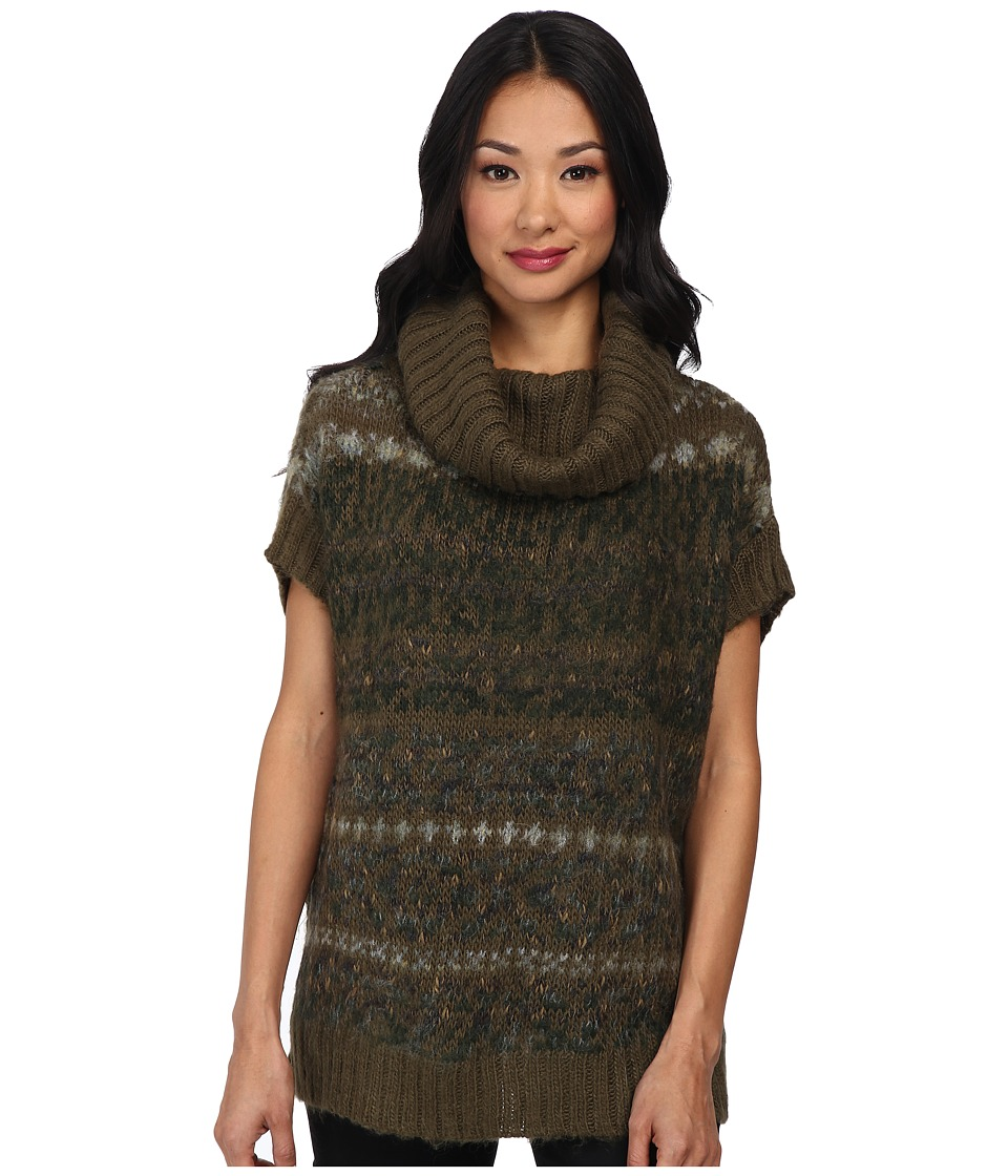Free People - Snow Bunny Turtle Neck Sweater Vest (Olive Combo) Women's Sweater plus size,  plus size fashion plus size appare