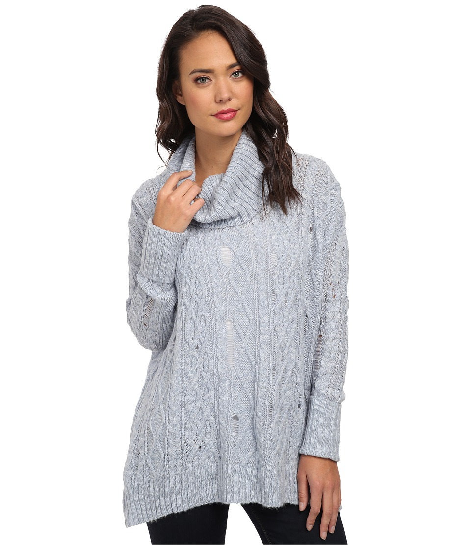 Free People - Complex Cable Pullover (Light Blue Combo) Women