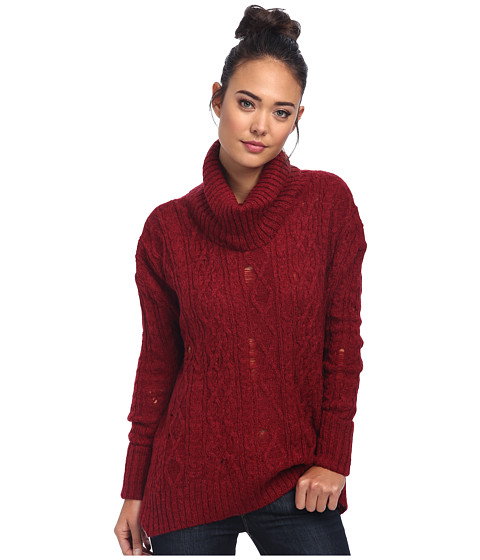 Free People - Complex Cable Pullover (Deep Red Combo) Women