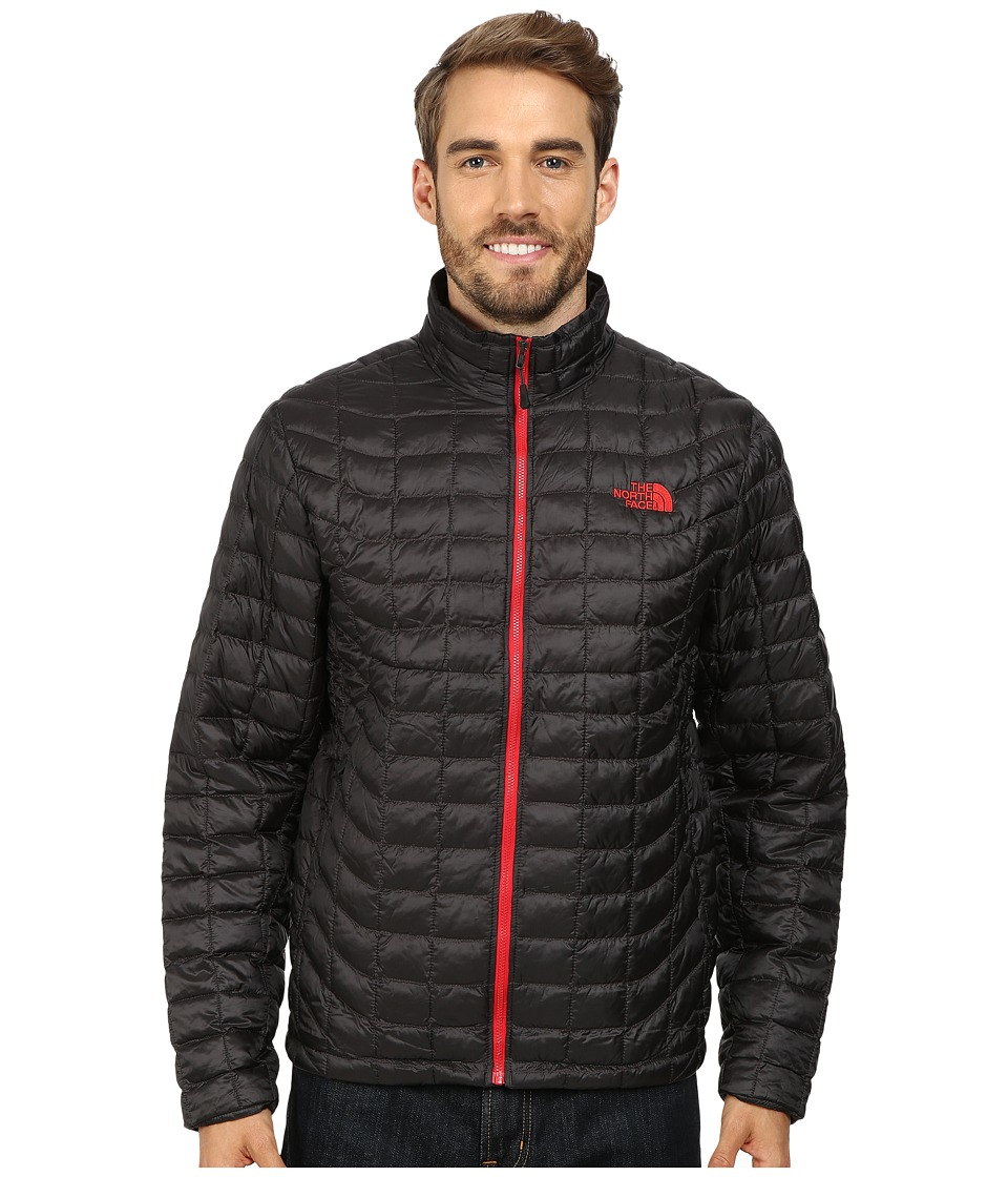 The North Face - ThermoBall Full Zip Jacket (Asphalt Grey/TNF Red) Men's Coat