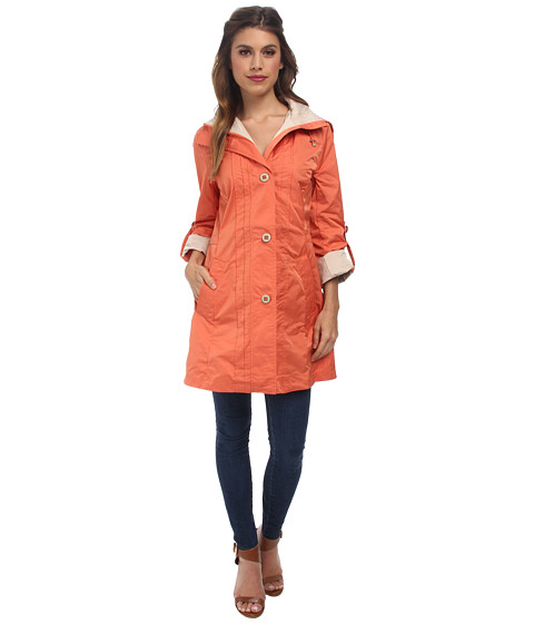 Rainforest - Single Breasted Belted Packable Trench (Orange) Women
