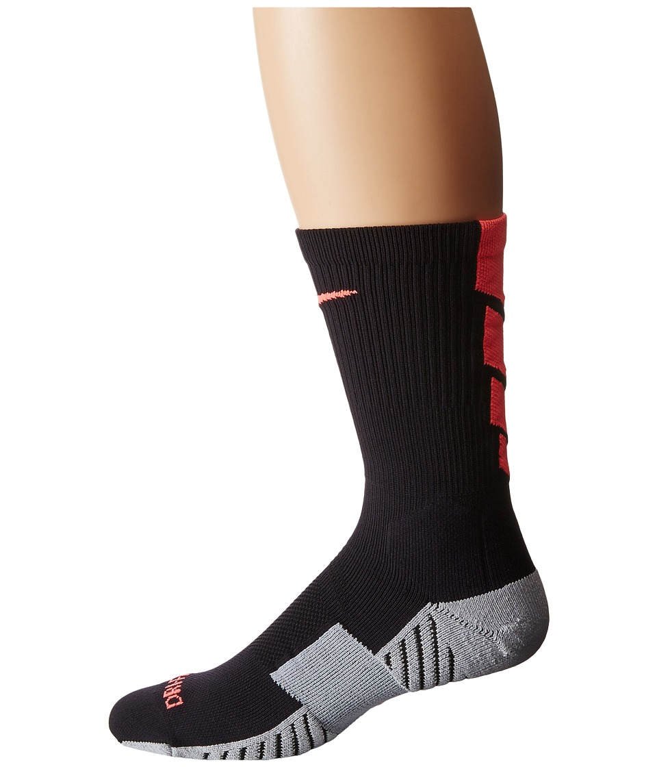 Nike - Stadium Soccer Crew (Black/Wolf Grey/Hot Lava/Hot Lava) Crew Cut Socks Shoes
