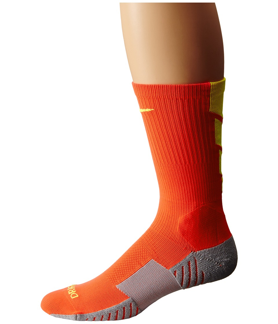 Nike - Stadium Soccer Crew (Bright Crimson/Wolf Grey/Volt/Volt) Crew Cut Socks Shoes