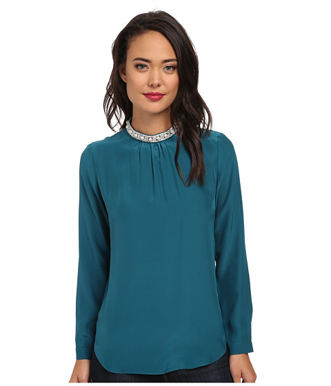 Amanda Uprichard - Ophelia Jewel Blouse (Jade) Women's Blouse