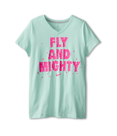 Nike Kids - NA Fly Mighty V-Neck Tee (Little Kids/Big Kids) (Artisan Teal/Dark Grey Heather) Girl's T Shirt