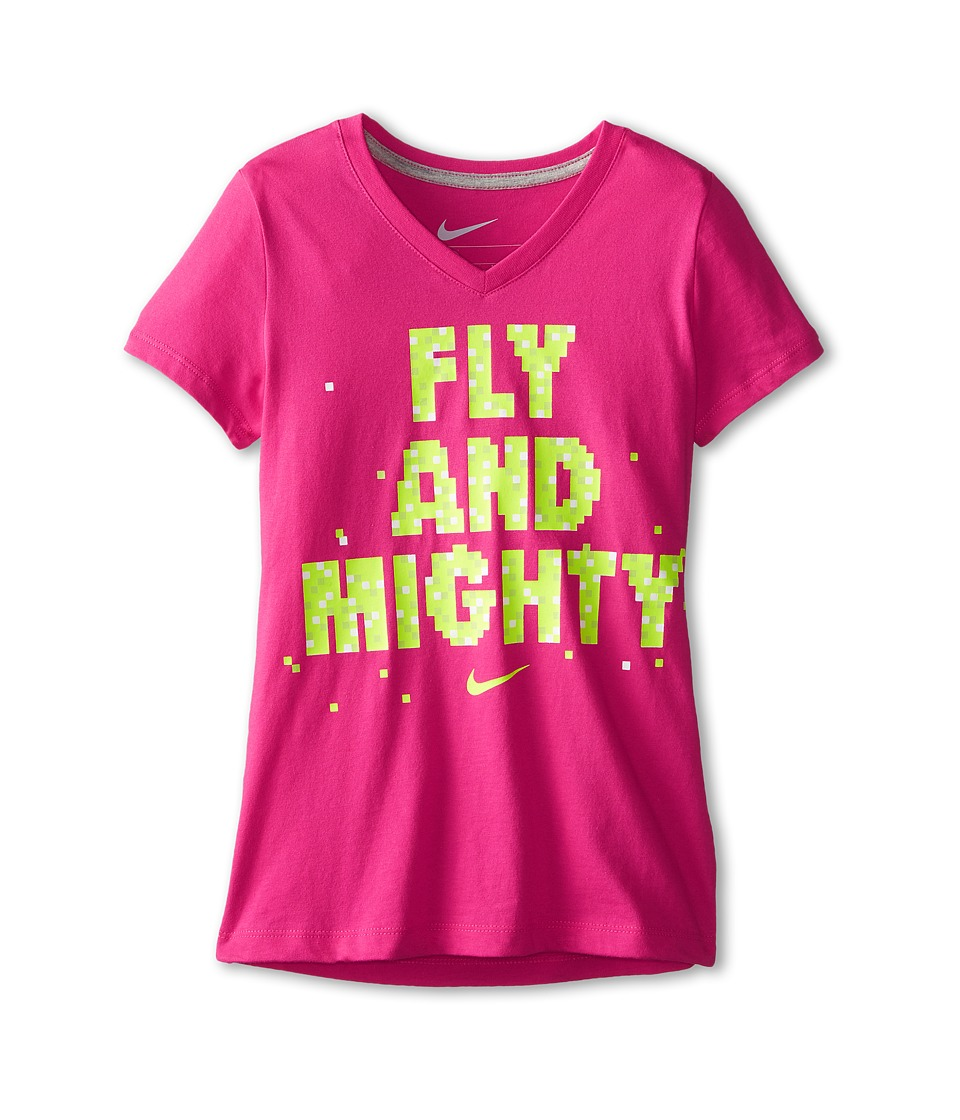 Nike Kids - NA Fly Mighty V-Neck Tee (Little Kids/Big Kids) (Vivid Pink/Dark Grey Heather) Girl