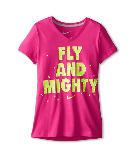 Nike Kids - NA Fly Mighty V-Neck Tee (Little Kids/Big Kids) (Vivid Pink/Dark Grey Heather) Girl