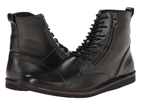 John Varvatos - Barrett Side-Zip High (Blackened Pewter) Men's Lace-up Boots