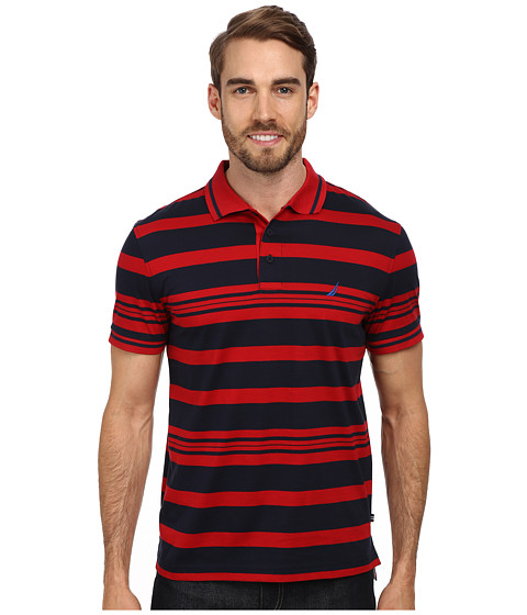 Nautica - Short Sleeve Striped Polo (Nautica Red) Men's Short Sleeve Pullover
