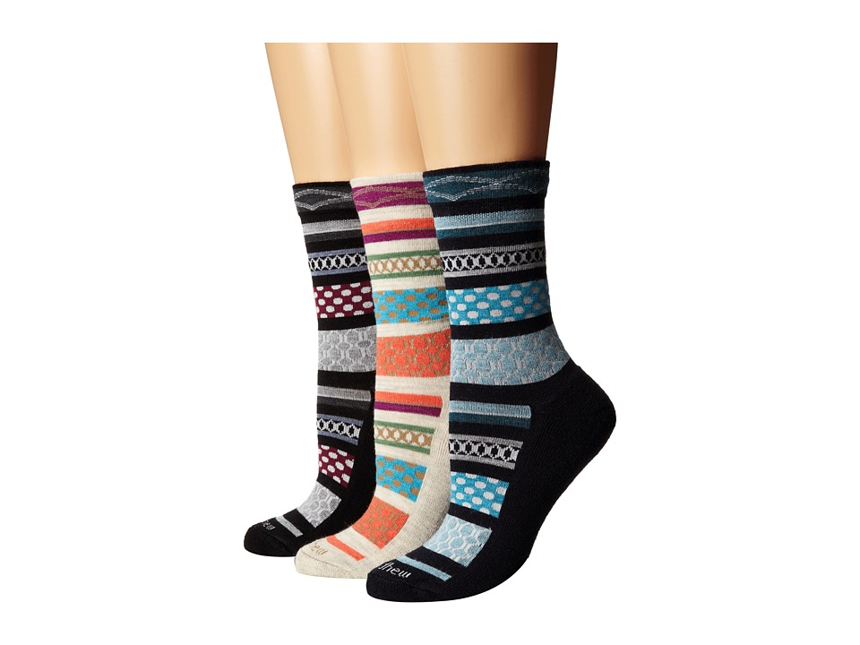 Goodhew - Ribbon Fairisle 3-Pack (Barley/Navy/Black) Women's Crew Cut Socks Shoes