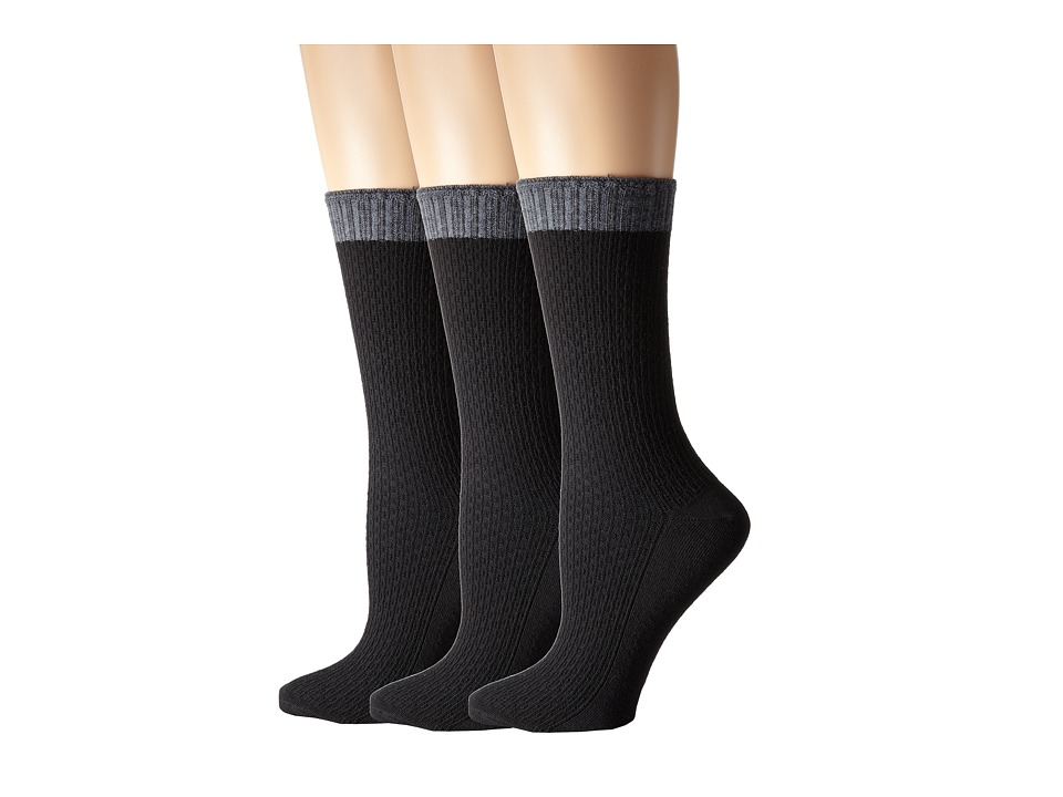 Goodhew - Lattice 3-Pack (Black) Women's Quarter Length Socks Shoes