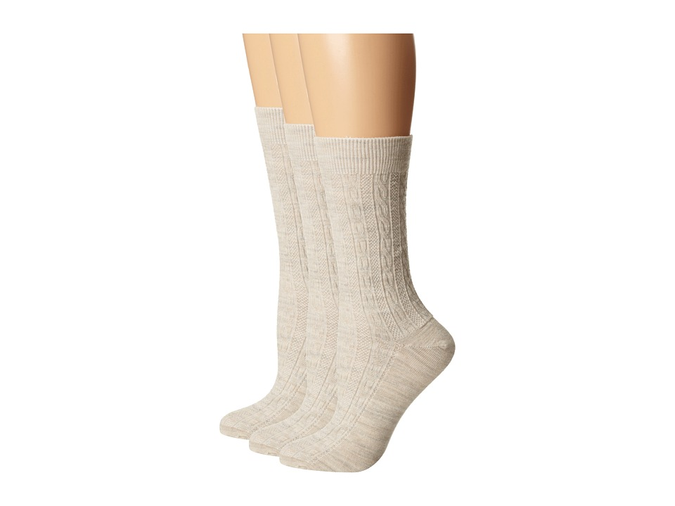 Goodhew - San Fran Cable 3-Pack (Barley) Women's Crew Cut Socks Shoes