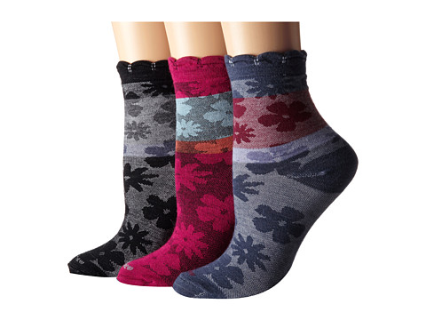 Goodhew - Petti Point 3-Pack (Black/Denim/Azalea) Women's Crew Cut Socks Shoes
