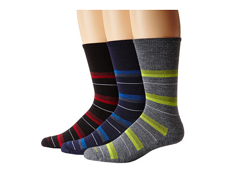 Goodhew - Shadow Stripe 3-Pack (Navy/Charcoal/Black) Men's Crew Cut Socks Shoes